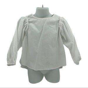 Zara Kids White Long Puff Sleeve Blouse Size 5